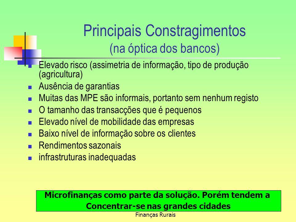 Principais Constragimentos (na óptica dos bancos)