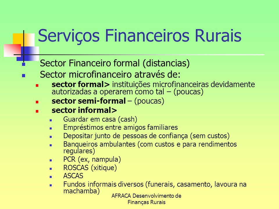 Serviços Financeiros Rurais