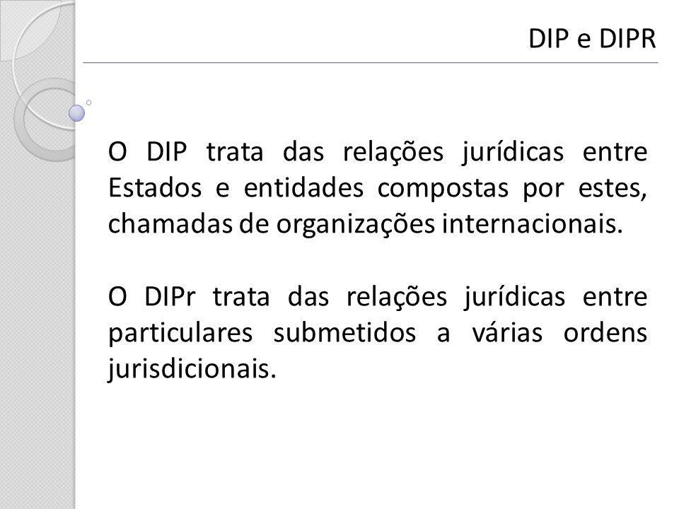 DIP e DIPR O DIP trata das relações jurídicas entre Estados e entidades compostas por estes, chamadas de organizações internacionais.
