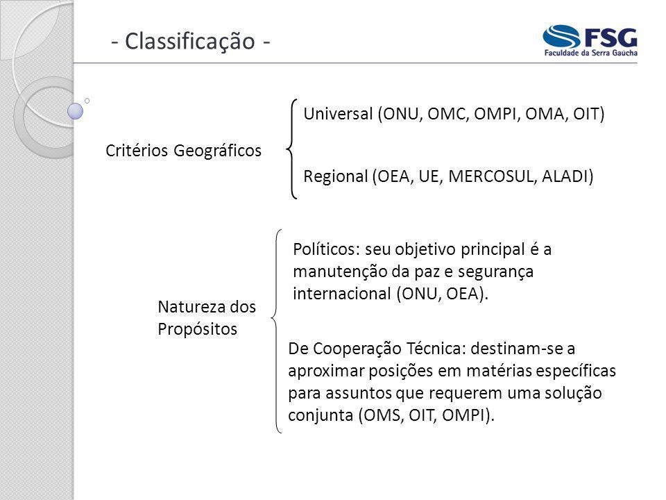- Classificação - Universal (ONU, OMC, OMPI, OMA, OIT)