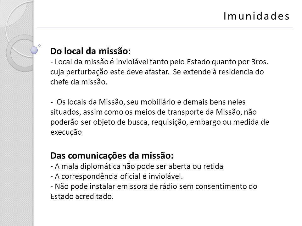 Imunidades Do local da missão: Das comunicações da missão: