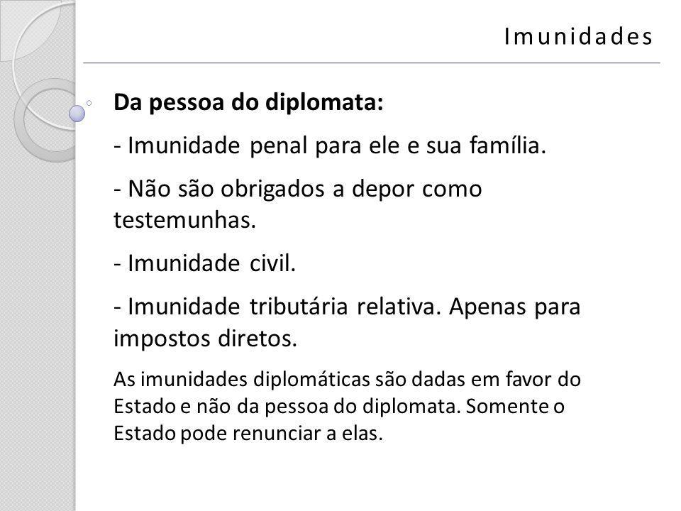 Da pessoa do diplomata: Imunidade penal para ele e sua família.