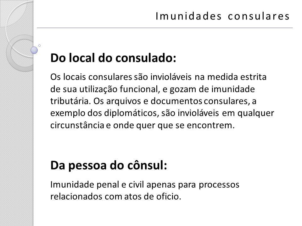 Do local do consulado: Da pessoa do cônsul: Imunidades consulares