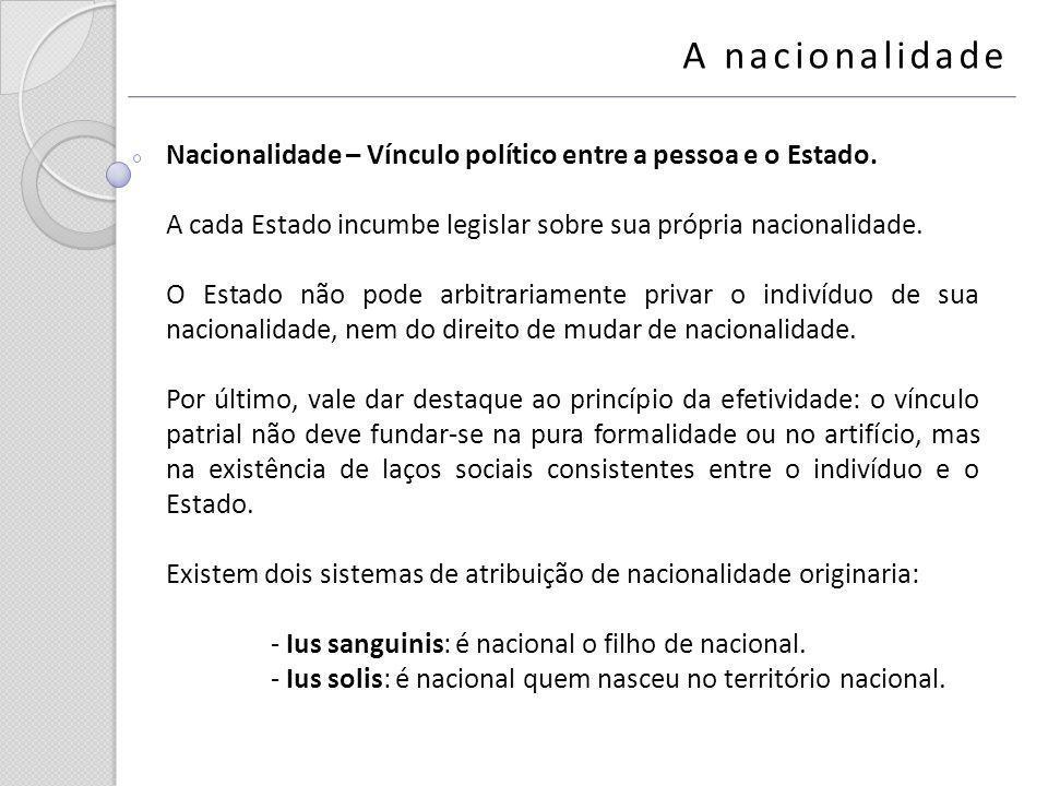 A nacionalidade Nacionalidade – Vínculo político entre a pessoa e o Estado. A cada Estado incumbe legislar sobre sua própria nacionalidade.