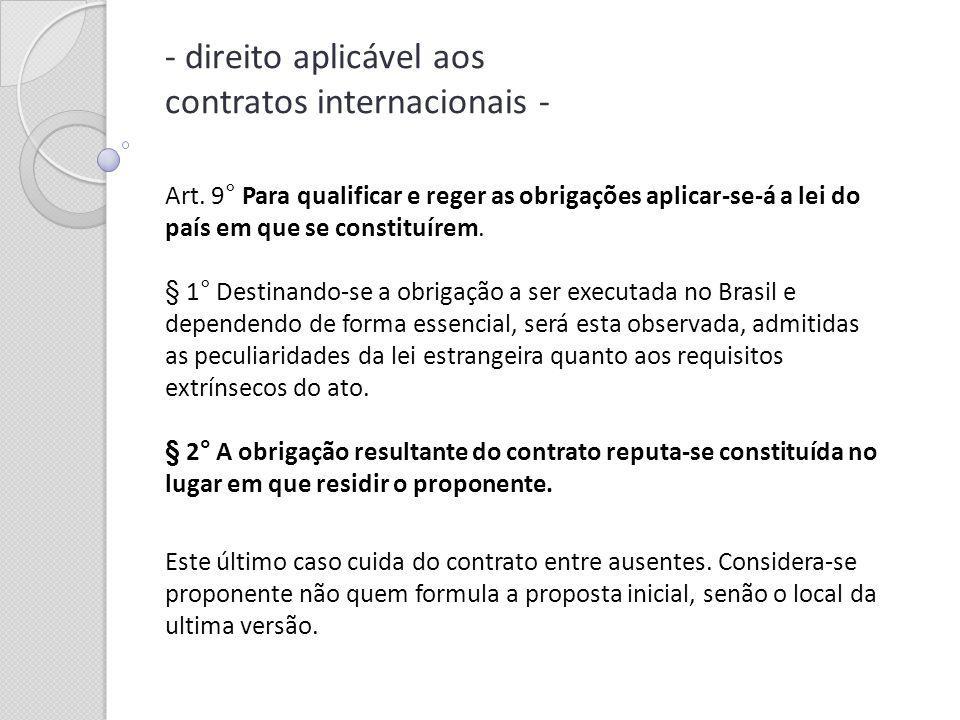 direito aplicável aos contratos internacionais -