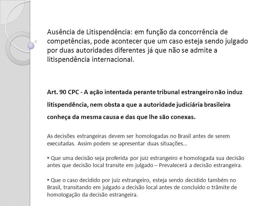 Ausência de Litispendência: em função da concorrência de competências, pode acontecer que um caso esteja sendo julgado por duas autoridades diferentes já que não se admite a litispendência internacional.