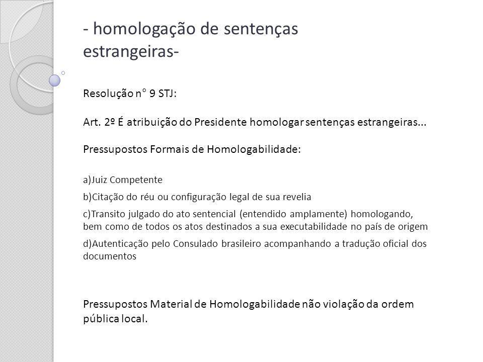 - homologação de sentenças estrangeiras-