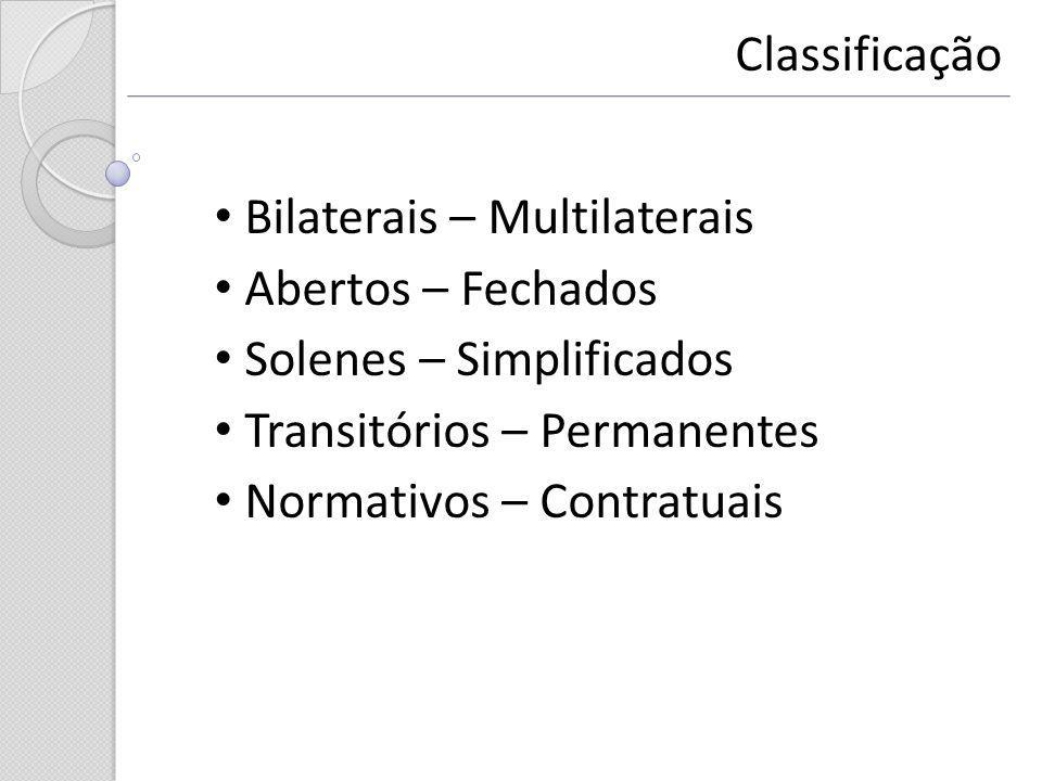 Classificação Bilaterais – Multilaterais. Abertos – Fechados. Solenes – Simplificados. Transitórios – Permanentes.