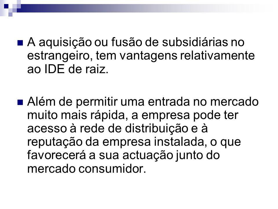 A aquisição ou fusão de subsidiárias no estrangeiro, tem vantagens relativamente ao IDE de raiz.