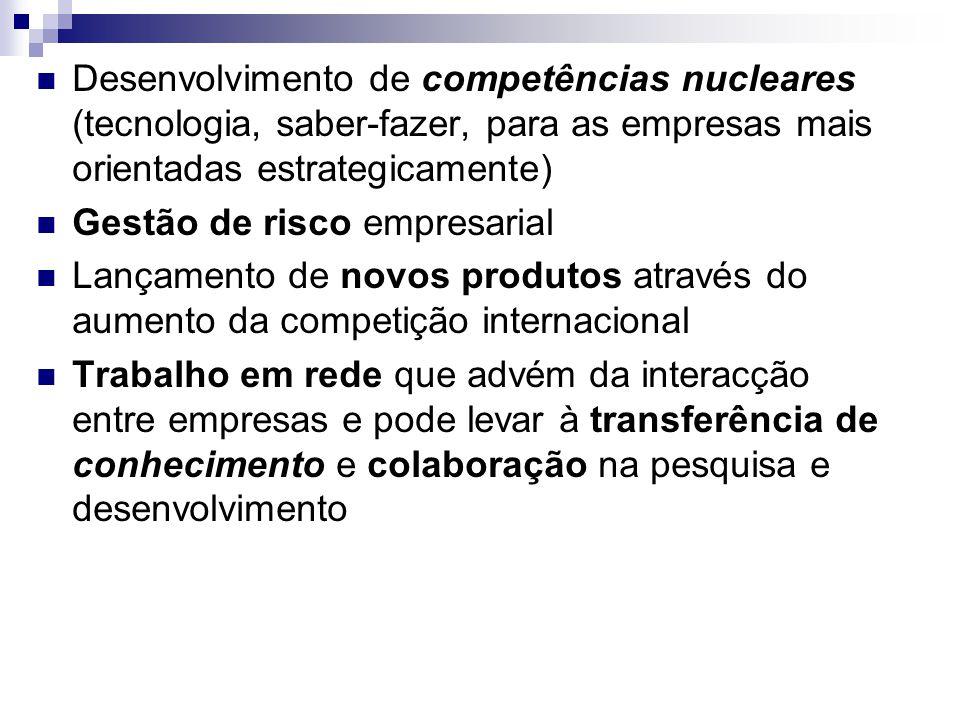 Desenvolvimento de competências nucleares (tecnologia, saber-fazer, para as empresas mais orientadas estrategicamente)