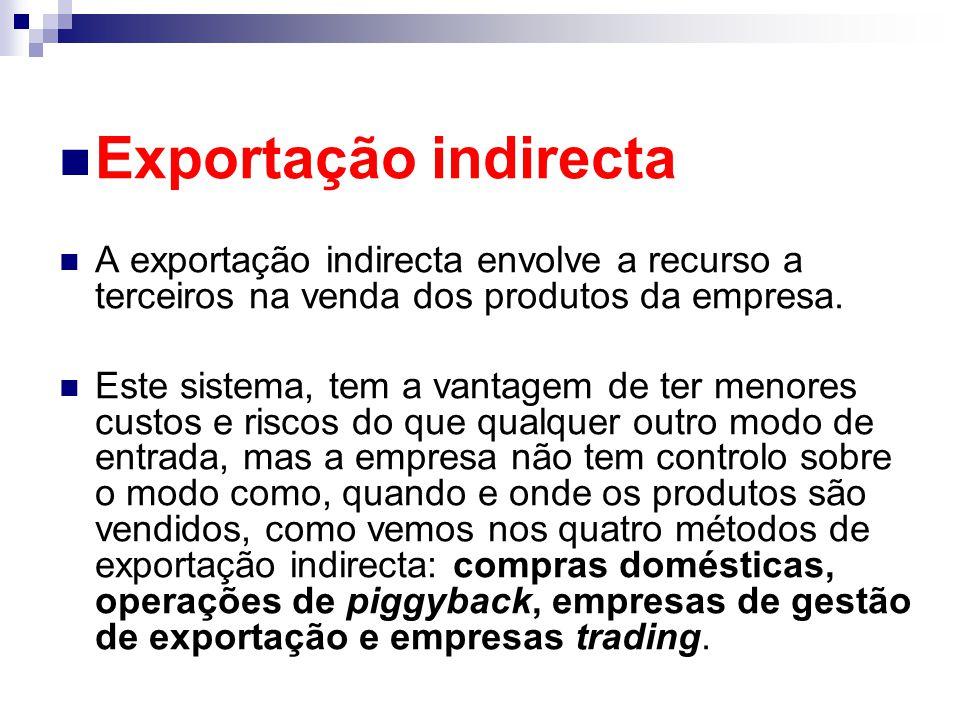 Exportação indirecta A exportação indirecta envolve a recurso a terceiros na venda dos produtos da empresa.