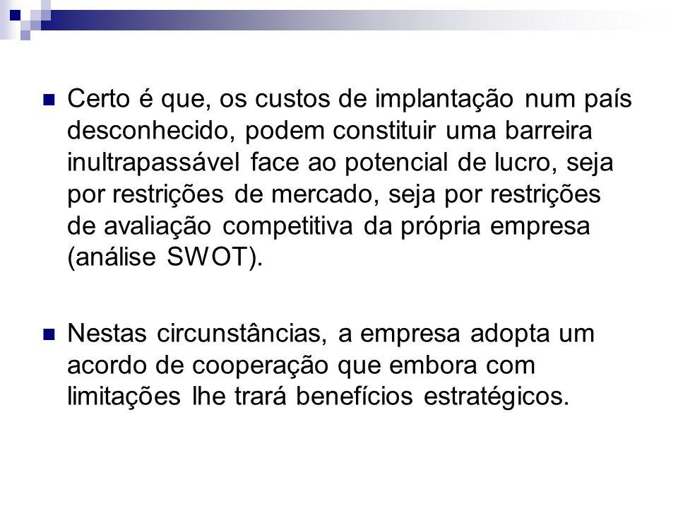 Certo é que, os custos de implantação num país desconhecido, podem constituir uma barreira inultrapassável face ao potencial de lucro, seja por restrições de mercado, seja por restrições de avaliação competitiva da própria empresa (análise SWOT).