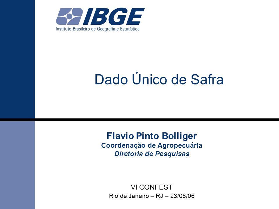Dado Único de Safra Flavio Pinto Bolliger Coordenação de Agropecuária Diretoria de Pesquisas VI CONFEST Rio de Janeiro – RJ – 23/08/06.