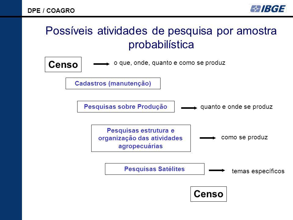 Possíveis atividades de pesquisa por amostra probabilística