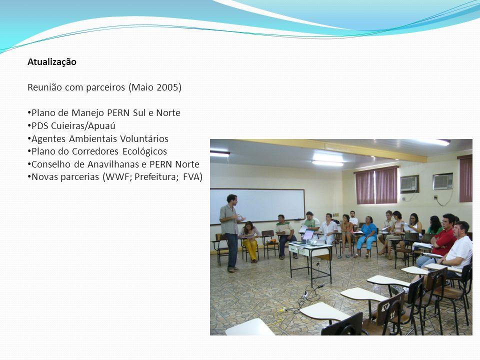 Atualização Reunião com parceiros (Maio 2005) Plano de Manejo PERN Sul e Norte. PDS Cuieiras/Apuaú.