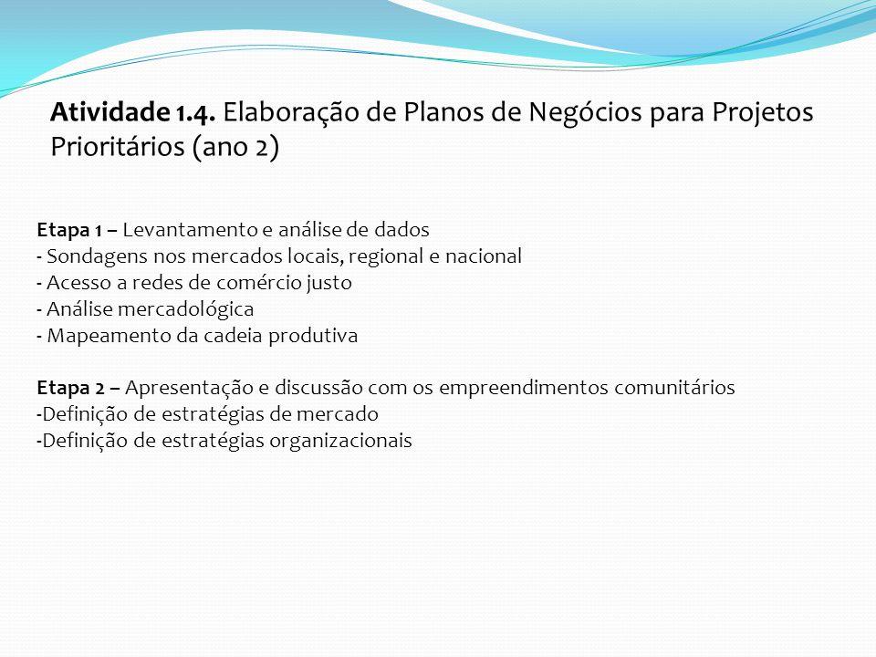 Atividade 1.4. Elaboração de Planos de Negócios para Projetos Prioritários (ano 2)