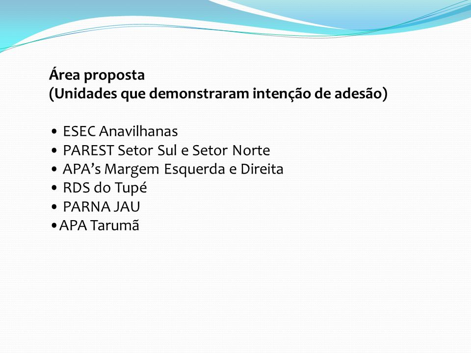 Área proposta (Unidades que demonstraram intenção de adesão) ESEC Anavilhanas. PAREST Setor Sul e Setor Norte.