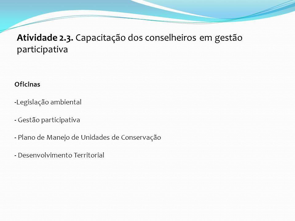 Atividade 2.3. Capacitação dos conselheiros em gestão participativa