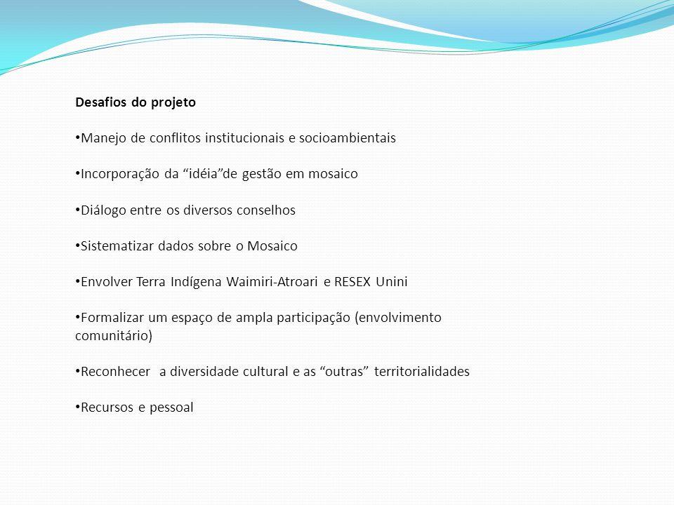 Desafios do projeto Manejo de conflitos institucionais e socioambientais. Incorporação da idéia de gestão em mosaico.