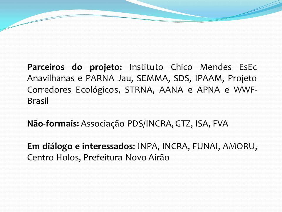 Parceiros do projeto: Instituto Chico Mendes EsEc Anavilhanas e PARNA Jau, SEMMA, SDS, IPAAM, Projeto Corredores Ecológicos, STRNA, AANA e APNA e WWF-Brasil