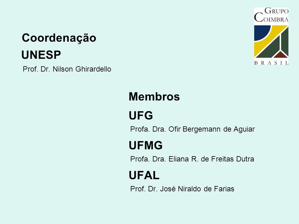 Coordenação Membros UFG UFMG UFAL UNESP Prof. Dr. Nilson Ghirardello