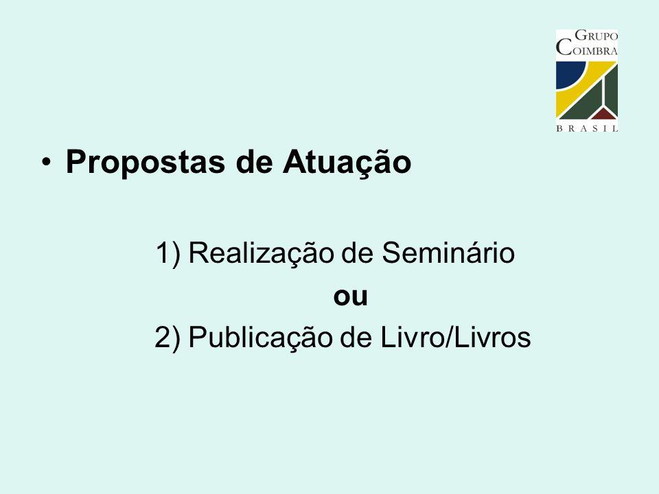 Propostas de Atuação 1) Realização de Seminário ou