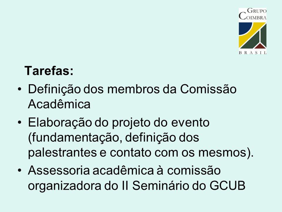 Tarefas: Definição dos membros da Comissão Acadêmica.