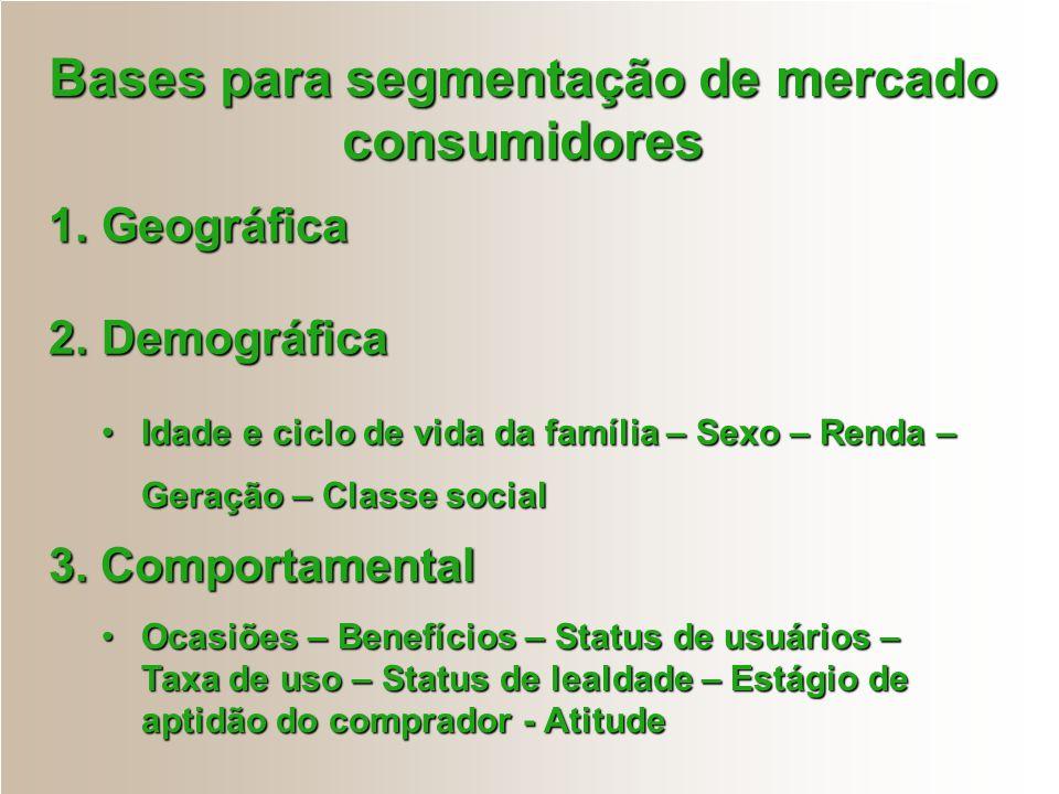 Bases para segmentação de mercado consumidores