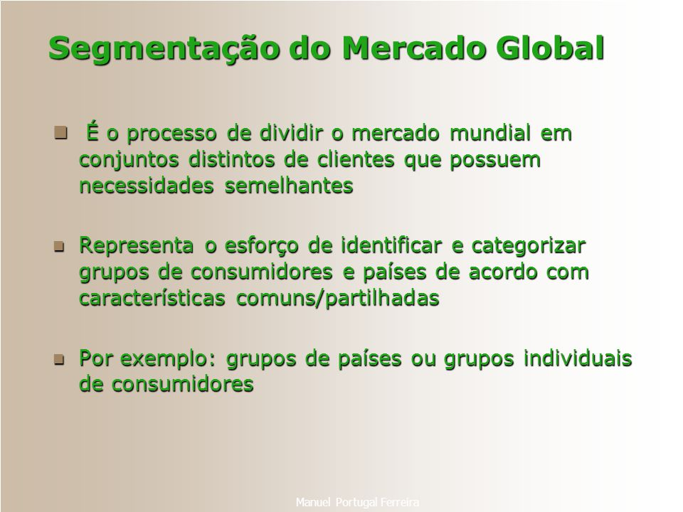 Segmentação do Mercado Global