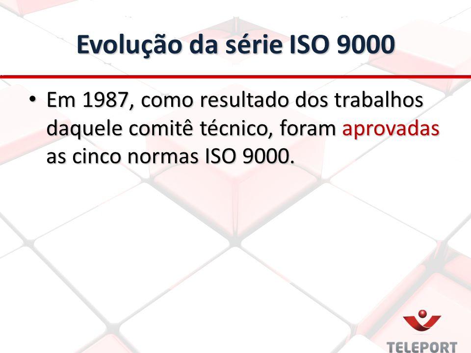 Evolução da série ISO 9000 Em 1987, como resultado dos trabalhos daquele comitê técnico, foram aprovadas as cinco normas ISO 9000.