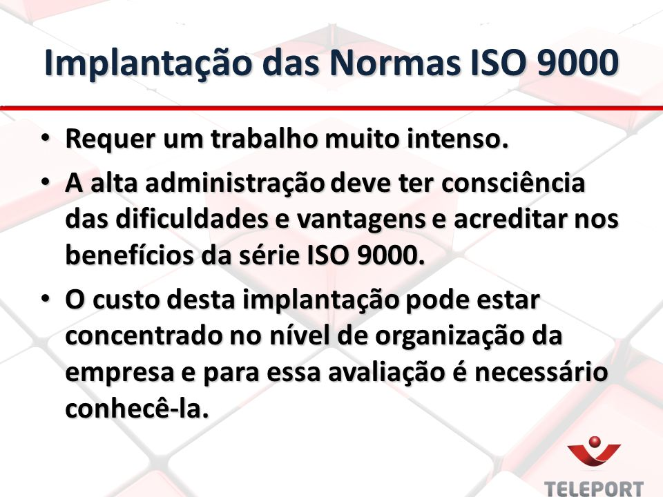 Implantação das Normas ISO 9000