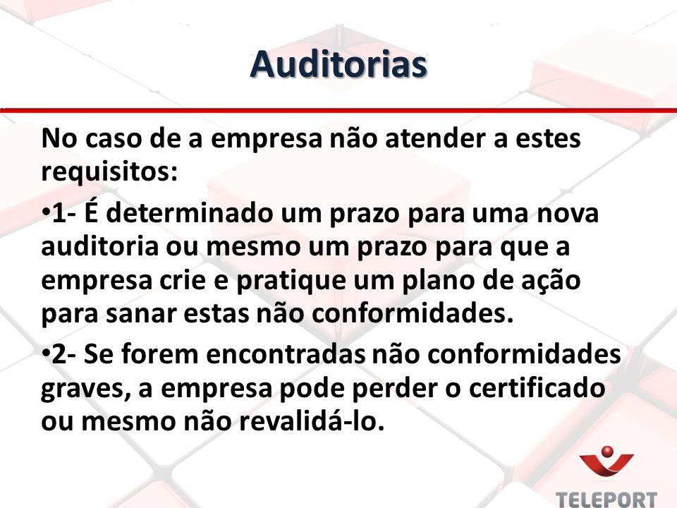 Auditorias No caso de a empresa não atender a estes requisitos: