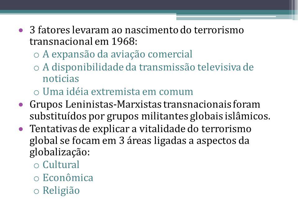 3 fatores levaram ao nascimento do terrorismo transnacional em 1968: