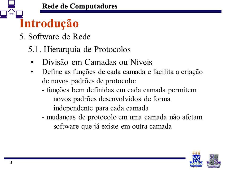 Introdução 5. Software de Rede 5.1. Hierarquia de Protocolos