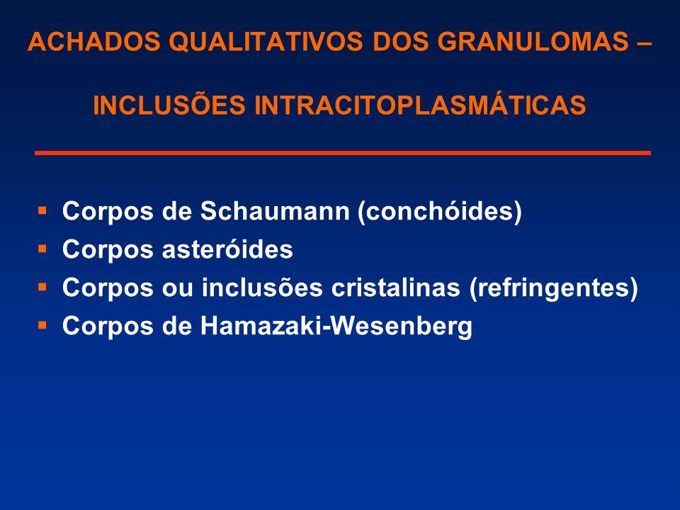 ACHADOS QUALITATIVOS DOS GRANULOMAS – INCLUSÕES INTRACITOPLASMÁTICAS