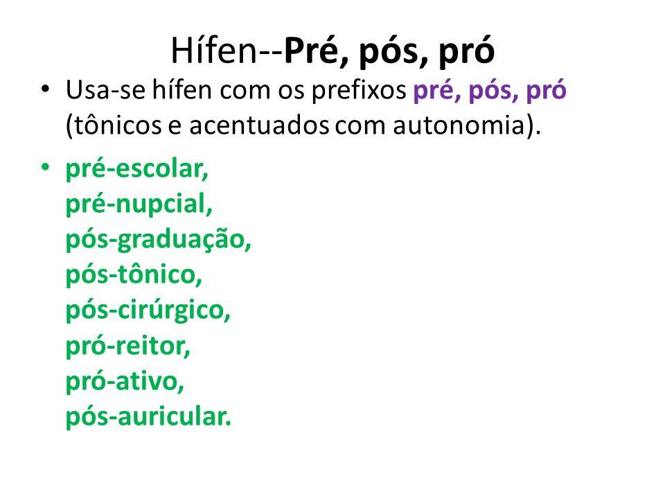 Hífen--Pré, pós, pró Usa-se hífen com os prefixos pré, pós, pró (tônicos e acentuados com autonomia).