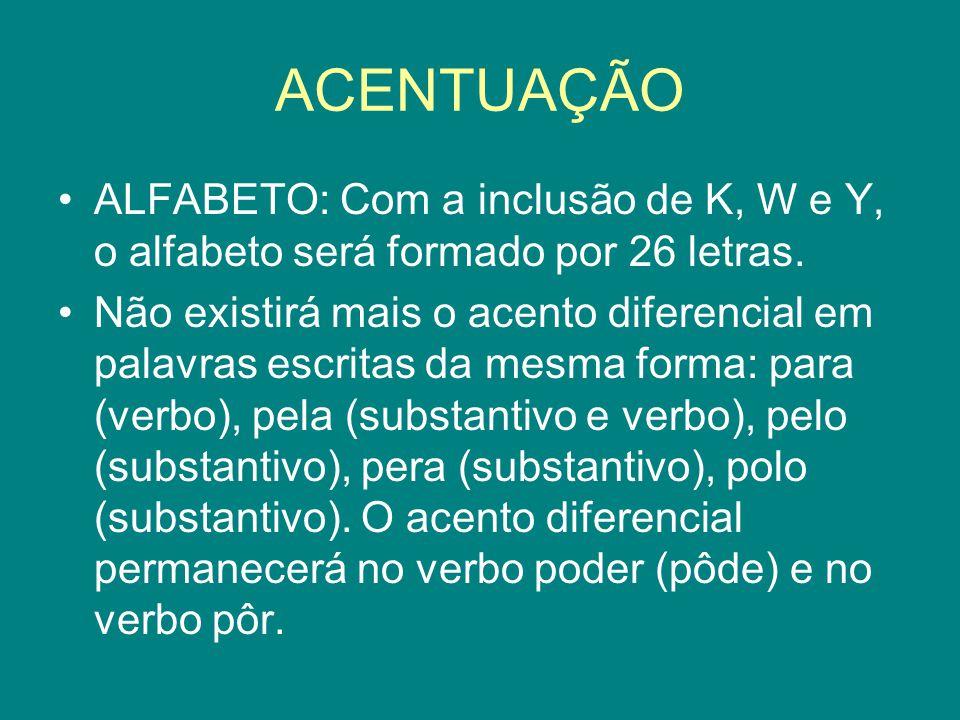 ACENTUAÇÃO ALFABETO: Com a inclusão de K, W e Y, o alfabeto será formado por 26 letras.