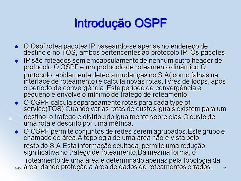 Introdução OSPF O Ospf rotea pacotes IP baseando-se apenas no endereço de destino e no TOS, ambos pertencentes ao protocolo IP. Os pacotes.