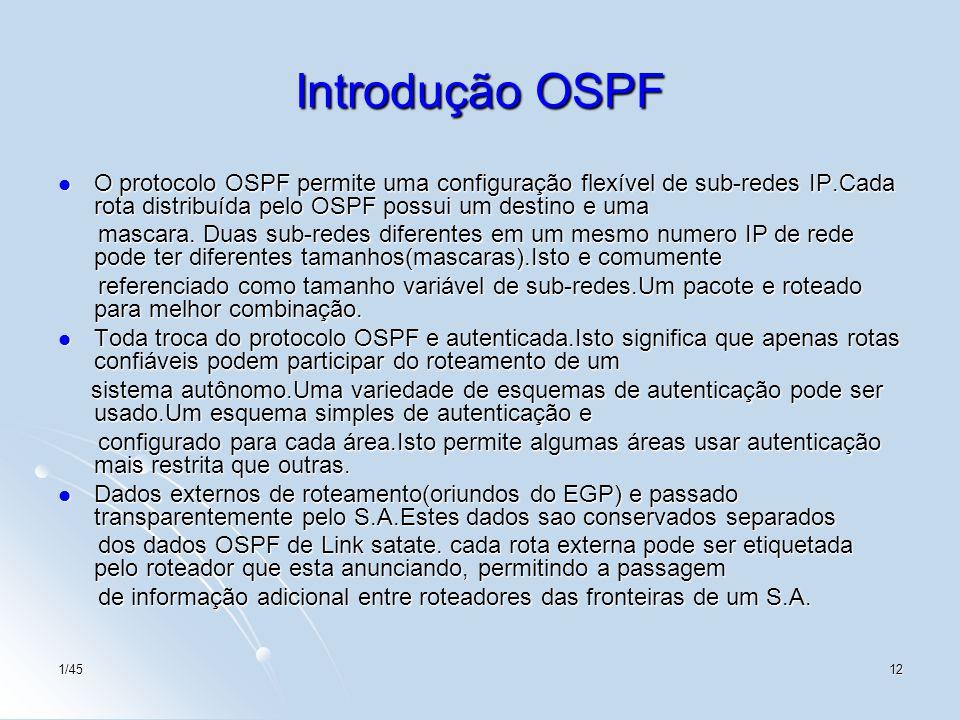 Introdução OSPF O protocolo OSPF permite uma configuração flexível de sub-redes IP.Cada rota distribuída pelo OSPF possui um destino e uma.
