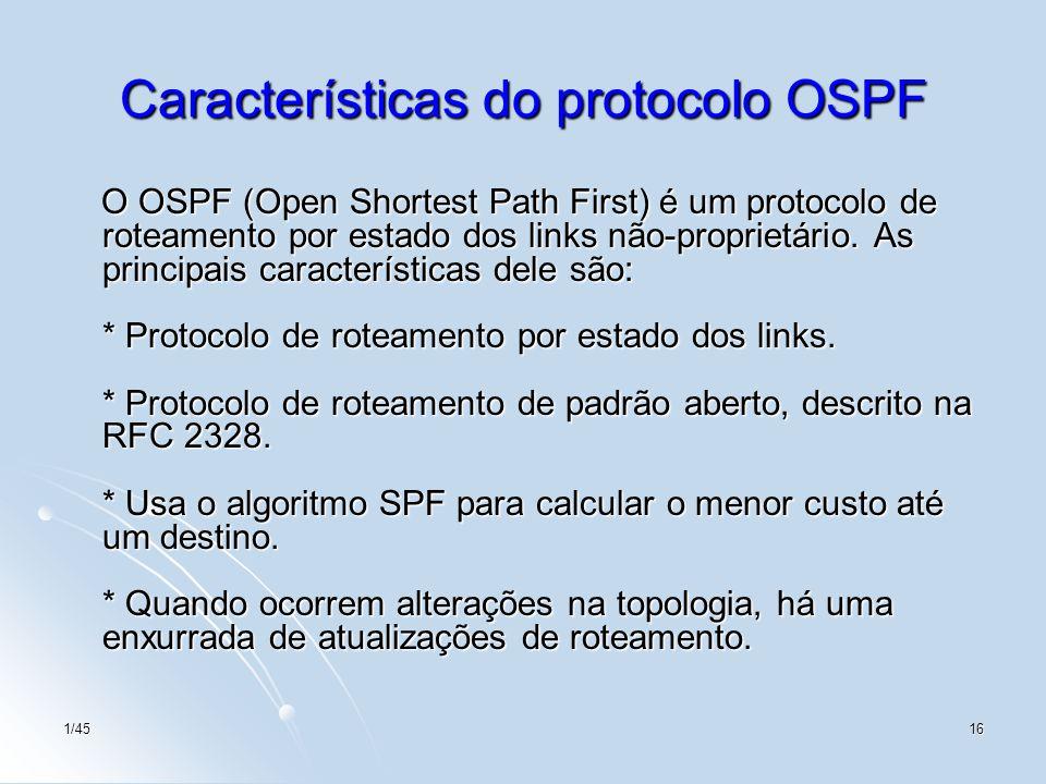 Características do protocolo OSPF