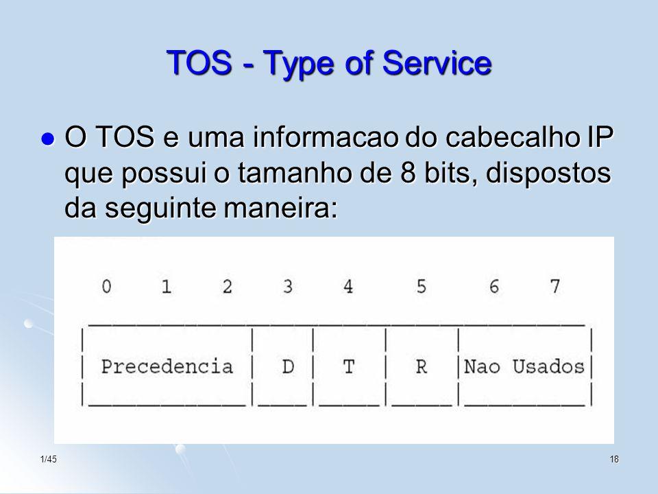 TOS - Type of Service O TOS e uma informacao do cabecalho IP que possui o tamanho de 8 bits, dispostos da seguinte maneira: