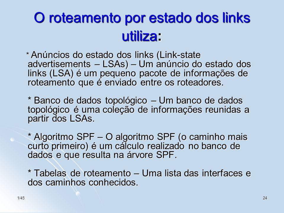 O roteamento por estado dos links utiliza: