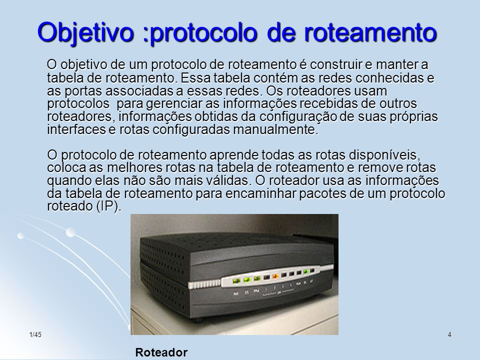 Objetivo :protocolo de roteamento
