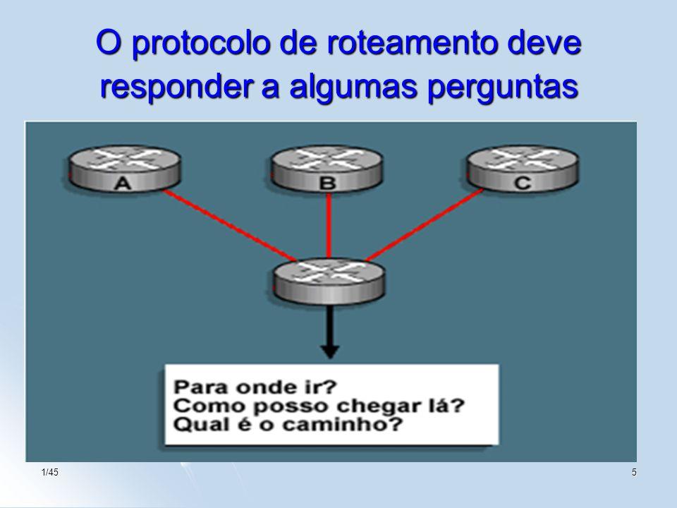 O protocolo de roteamento deve responder a algumas perguntas