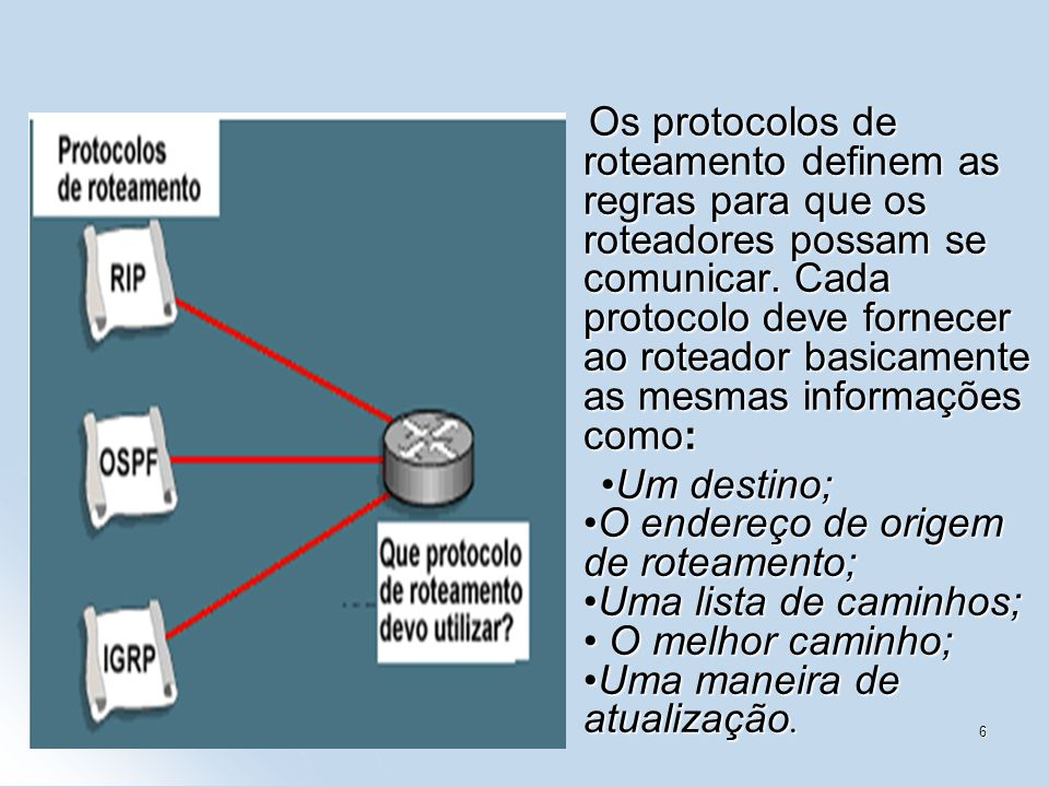 Os protocolos de roteamento definem as regras para que os roteadores possam se comunicar. Cada protocolo deve fornecer ao roteador basicamente as mesmas informações como: