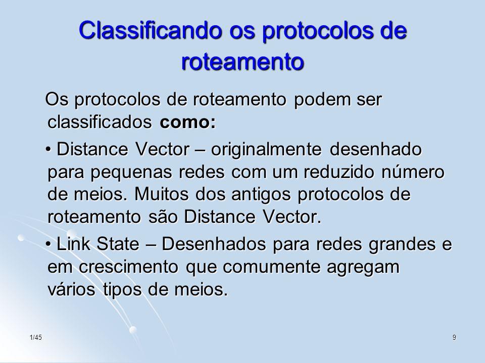 Classificando os protocolos de roteamento