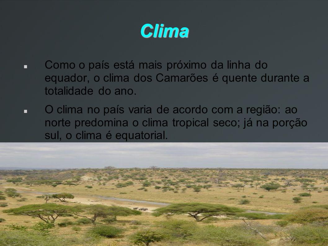 Clima Como o país está mais próximo da linha do equador, o clima dos Camarões é quente durante a totalidade do ano.