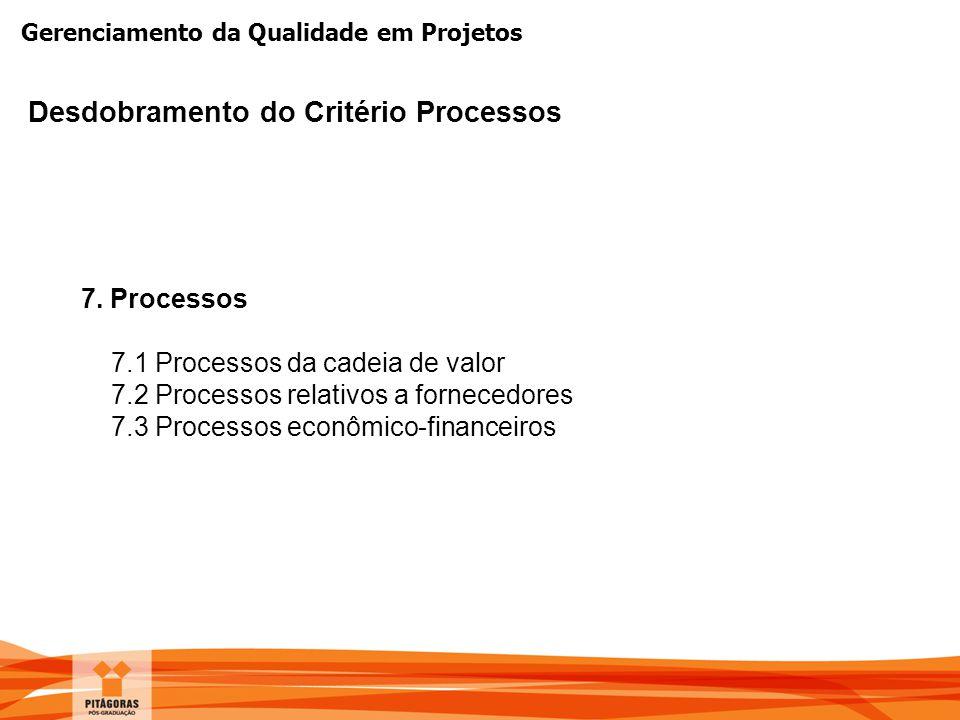 Desdobramento do Critério Processos
