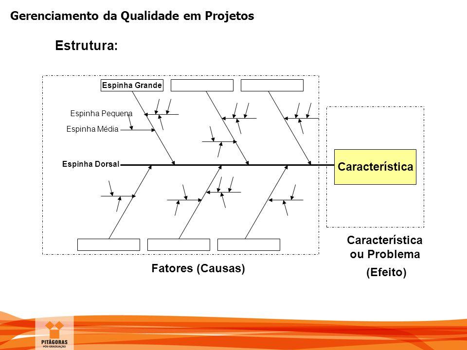 Estrutura: Característica ou Problema (Efeito) Fatores (Causas)