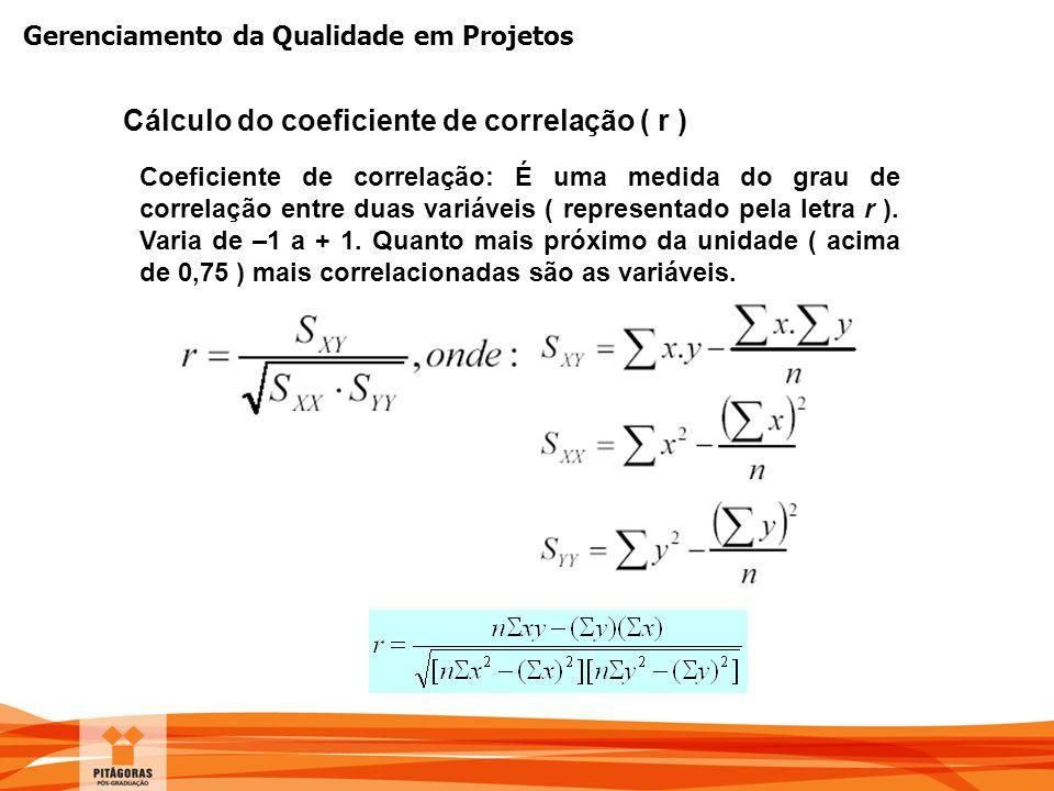 Cálculo do coeficiente de correlação ( r )